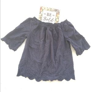 Bass Navy Blue Floral Embroidered Top Large